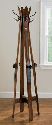 coat tree made from vintage wood skis