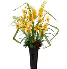 Found it at allmodern floral 27 medium artificial potted boston arwf3767 yellow flowerssilk mightylinksfo Choice Image