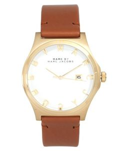 Marc By Marc Jacobs Brown Leather Strap With Gold Face Watch