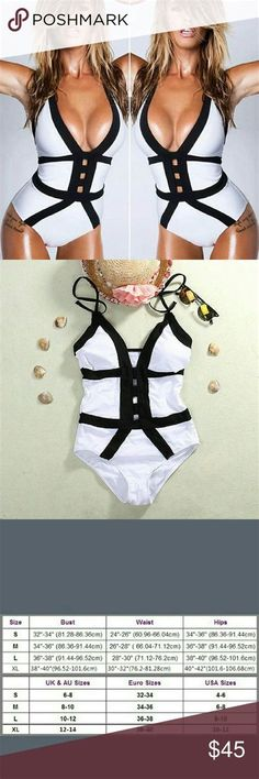 6bdbc6c7fb486d White and Black Bikini One piece Monokini Push Up! Women One Piece Swimsuit  Swimwear Bathing Monokini Push Up Padded Bikini Fashion Brand New,high  quality!