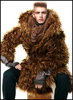 Custom Regal MEN&39S Faux FUR COAT with Stand-up Collar Contrast