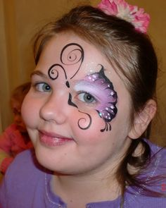 Face Paint, Butterfly, Eye Design, Purple, Face Painting Illusions and Balloon Art Butterfly Face Paint, Butterfly Makeup, Butterfly Eyes, Butterflies, Adult Face Painting, Painting For Kids, Body Painting, Painting Lessons, Purple Painting