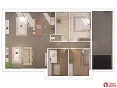 Maisons VESTA :  La plan du modèle Grenade (plain-pied). 90m² + garage