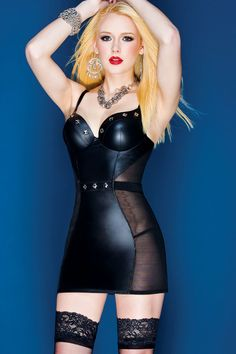Exciting Powernet Chemise Faux Leather Lingerie