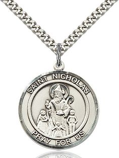 Sterling Silver St Light Rhodium Heavy Curb Chain Patron Saint Travelers//Motorists 1 3//8 x 1 1//4 Christopher Pendant