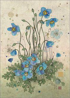 BugArt Paper & Foil ~ Blue Meconopsis. PAPER & FOIL Designed by Jane Crowther.