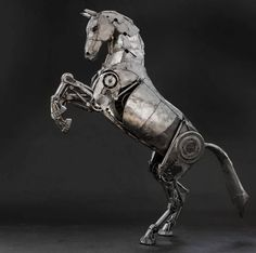 The Art Of Up-Cycling: Steampunk Horse's, Scrap Metal Horses - Andrew Chase Cyberpunk, Sculpture Metal, Horse Sculpture, Mechanical Horse, Steampunk Kunst, Steampunk Animals, Robot Animal, Horse Rearing, Steampunk Cosplay