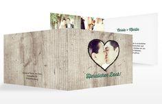 """Zünftig! Die Dankeskarte """"Wooden Love"""" ist perfekt für die Hochzeit in Tracht."""