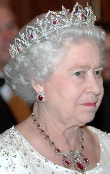 Oriental Circlet Tiara. The tiara was made for Queen Victoria in 1853.This also called Indian-Ruby-Tiara was one of the favourite headjewels of the late Queen Elizabeth, the Queen Mother.