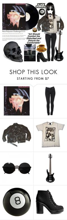 """""""black sabbath"""" by voidman ❤ liked on Polyvore featuring Cheap Monday, Junk Food Clothing, Versace, Reichenbach, H&M and L'Objet"""