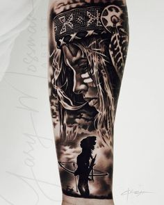 Indian Women Tattoo, Native Indian Tattoos, Indian Girl Tattoos, Indian Tattoo Design, Native American Tattoos, Arm Sleeve Tattoos, Sleeve Tattoos For Women, Tattoo Sleeve Designs, Forearm Tattoos