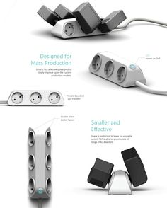A power strip that can be arranged to fit a variety of plugs without overlapping. #powerstrip #power #YankoDesign