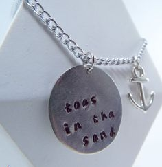 Hand Stamped Toes In The Sand Necklace by Kre8vStudioz on Etsy