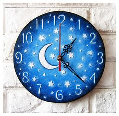 Made to Order The Moon and Stars Blue Wall Clock Home Decor for Children Baby Kid Boy Girl Nursery Playroom Clock Painting, Clock Art, Diy Clock, Clock Ideas, Unique Clocks, Cool Clocks, Blue Playroom, Blue Wall Clocks, Cute Clock