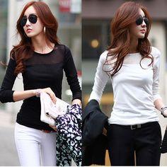 Pas cher 2015 nouvelle mode femmes coréennes t  shirt maille patchwork ras du cou à manches longues blanc blusa femmes casual blusas top noir, Acheter  T-shirts de qualité directement des fournisseurs de Chine:bienvenue2015 nouvelle mode femmes coréennes t- shirt maille patchwork ras du cou à manches longues blanc blusa femmes c