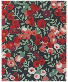 """Wiltshire, J, Liberty. """"This Leaf and berry pattern was designed for Liberty in 1933. Like Betsy, it was created by the designer with the initials DS. It was redesigned by Tana in 1968. Wiltshire has been on Classic Tana since 1979."""""""