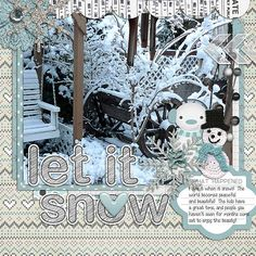 I love it when it snows!  The world becomes peaceful and beautiful!  The kids have a great time, and people you haven't seen for months come out to enjoy the beauty!  I used a kit from PIXELILY-Collecting Moments-December found here: http://store.gingerscraps.net/Collecting-Moments-December.html and the template from SEATROUT SCRAPS for the template challenge here at Gingerscraps!