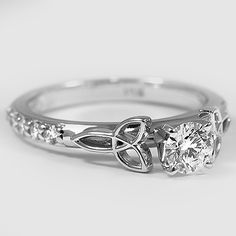 18K White Gold Luxe Celtic Love Knot Ring // Set with a 0.26 Carat, Round, Super Ideal Cut, D Color, VS1 Clarity Diamond #BrilliantEarth