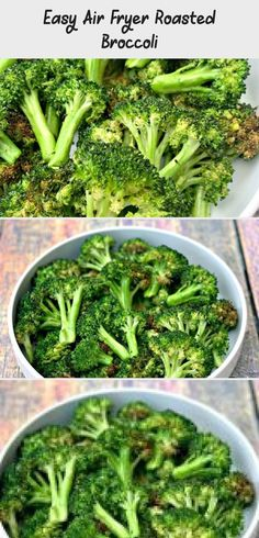 Easy Air Fryer Roasted Broccoli is a quick vegetarian, vegan, and gluten-free re. Vegetable Prep, Roasted Broccoli Recipe, Broccoli Recipes, Frozen Broccoli, Fresh Broccoli, Gluten Free Recipes, Healthy Recipes, Air Fryer Pork Chops, Vegetarian