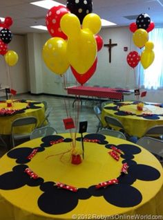 DIY Mickey Mouse and Minnie Mouse Party Decorations from RobynsOnlineWorld. Mickey Mouse Party Decorations, Mickey Mouse Parties, Mickey Party, Table Decorations, Mickey Mouse Party Favors, Mickey Mouse Birthday Invitations, Mickey Mouse Cupcakes, Baby Mickey, Mickey Mouse Clubhouse Birthday Party