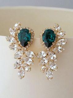 Emerald earrings | Emerald bridal earrings by EldorTinaJewelry | http://etsy.me/1SZSRKi