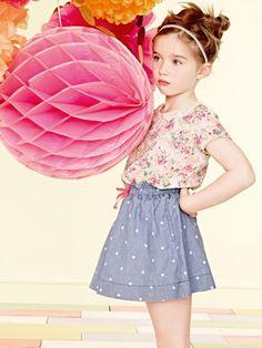 billiebush, floral tee, chambray skirt