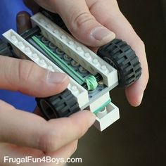 Awesome STEM activity for kids. Make a Rubber Band Powered Lego Car.