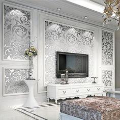 10M Elegant Vliestapete Wand Tapete Vlies Wandtapete 3D Optik Design Silber