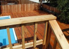 Wood Deck Wood Pool Deck, Pool Decks, Above Ground Pool Stairs, In Ground Pools, Outdoor Furniture, Outdoor Decor, Home Decor, Decoration Home, Room Decor