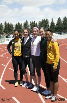 #UW365 This year's Mountain West Outdoor Track & Field Championships are taking place at 7,200 ft! Here are Cowgirls Mikalah, Taylor, Audrey, Katy, and Kereston warming up. #GoWyo!
