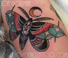 death's head moth tattoo by jon gorman at providence tattoo  #jongorman #providencetattoo #moth #tattoo #deathshead #traditionaltattoo #tattooideas #tattooartists