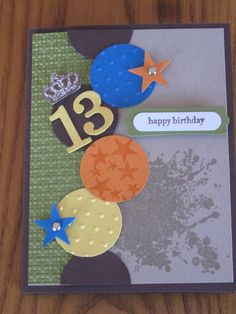 Birthday Teen Boy Son Grandson Nephew Cousin Friend handmade Stampin Up card Pick your number. $3.49, via Etsy.