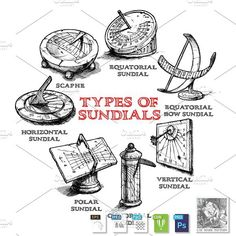 Set of different sundials
