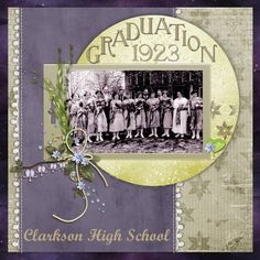 Graduation 1923 ~ A simple and well designed heritage page with pretty lace edged borders and a flower sprig accent.
