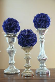 29 Trendy Wedding Centerpieces Blue And Silver Flower Ball Trendy Wedding, Gold Wedding, Dream Wedding, Wedding Day, Nautical Wedding, Wedding Tips, Elegant Wedding, Wedding Reception, Wedding Table Centerpieces