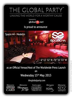 Spazio44 will host the #Press #Launch on the 15th of May 2013.  As a #Journalist, #Blogger or #Media Correspondent to attend please click here: http://www.theglobalparty.com/venues/spazzio-44/