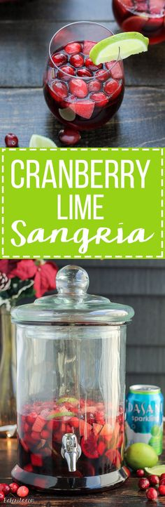This Cranberry Lime Sangria is a sparkling + festive take on sangria! This is the perfect refreshing cocktail for a crowd.