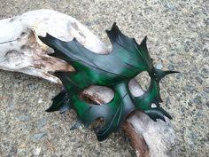 green Leather oak Leaf Mask. $60.00, via Etsy.