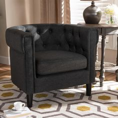 Bisset Classic and Traditional Chesterfield Chair by Baxton Studio | Zola