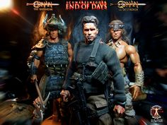 Calvin's Custom One Sixth scale Arnold Schwarzenegger as Jericho in End of Days, Conan the Barbarian and Conan the Destroyer.