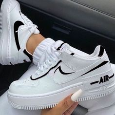 Uploaded by ℱℛᎯℕℂℰЅℂᎯ. Find images and videos about white, shoes and nike on We Heart It - the app to get lost in what you love. sneakers nike air force Image about white in Shoes by Queen.G on We Heart It Cute Sneakers, Sneakers Mode, Air Force Sneakers, Casual Sneakers, Sneakers Style, Summer Sneakers, Girls Sneakers, Trendy Shoes, Trendy Outfits