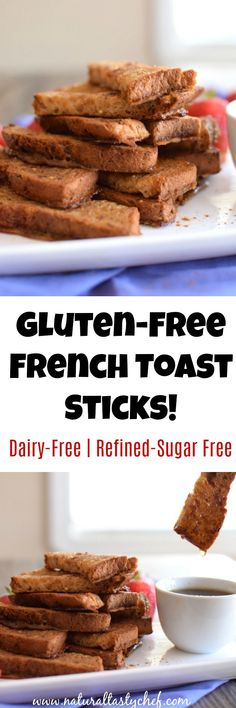 Baked gluten-free french toast sticks that are dairy-free and naturally sweetened. The kids will love them! #glutenfree, #glutenfreefrenchtoast, #naturallysweetened, #kidfriendly, #dairyfree, #frenchtoast Gluten Free Recipes Videos, Gluten Free Recipes For Lunch, Gluten Free Breakfasts, Vegan Dessert Recipes, Healthy Meal Prep, Healthy Foods To Eat, Gluten Free French Toast, French Toast Sticks, Brunch Ideas