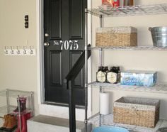 Mudroom by the garage door entry. How to Make Your Mudroom Shine