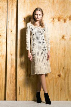 Vestido de coctel hecho a pedido del ganchillo vestido por encargo, hecho a mano, crochet - ganchillo irlandés de cosecha de algodón