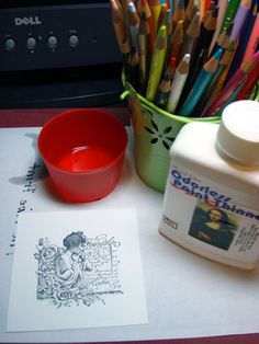 Dip colored pencil in odorless paint thinner for smooth color ...