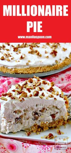 In 15 minutes or less you can make this easy and yummy classic summer pie that& creamy, fruity-sweet, light and no bake, too. We served this in a potluck and it was a huge hit! Köstliche Desserts, Delicious Desserts, Dessert Recipes, Light Desserts, Dinner Recipes, Drink Recipes, Manila, Homemade Graham Cracker Crust, Summer Pie