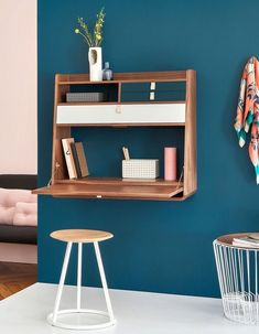 Secrétaire mural Hârto Small Bedroom Storage, Small Space Bedroom, Small Room Decor, Small Bedrooms, Desks For Small Spaces, Small Home Offices, String Regal, Tiny Apartment Decorating, Ikea Interior