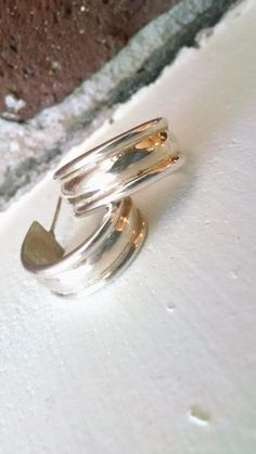 Mexico SOLID sterling silver wide hoop by VintageInspiredNow