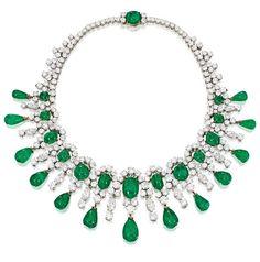 Brooke Astor's Bulgari emerald and diamond necklace, circa 1959. Via Diamonds in the Library.