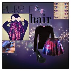 """""""Purple Galaxy"""" by stetsonfashion ❤ liked on Polyvore featuring beauty, FTC, P & Lot and purplehair"""